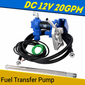 Fuel Transfer Pump 12v Dc 20 Gpm Diesel Gas Gasoline Kerosene Car Tractor Trucks