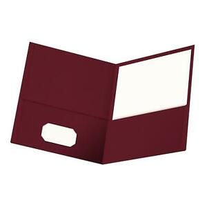 Oxford Twin pocket Folders Textured Paper Letter Size Burgundy Holds 100