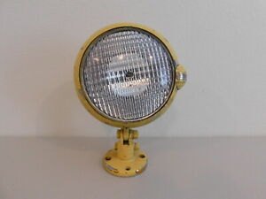 Vintage Unity Fire Truck Car Spot Light Lamp Base Chrome Painted Yellow