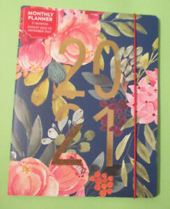 Aug 2020 To Dec 2021 Monthly Planner Blue Pink Flowers Notes Pocket 17 Month