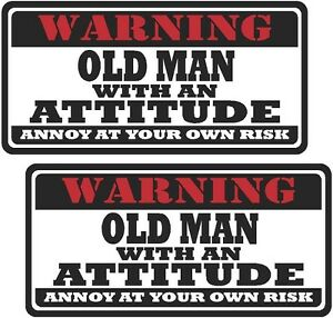 2 3 Old Man Worker Warning Tools Auto Motorcycle Decal Hard Hat Sticker Ws1