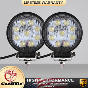 2x 27w 4inch Spot Round Led Work Light Offroad Fog Driving Drl For Suv Atv Truck