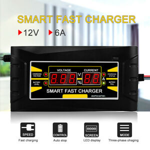 Full Automatic Car Battery Charger 12v 6a Smart Fast Power Charging Lcd Display