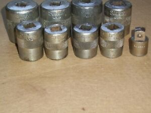 Extremely Rare Vintage 1920 s Snap On Specialty Sockets Set 5 8 dr w 1 2 Adapter