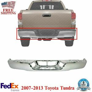 Rear Step Bumper Face Bar Chrome Steel For 2007 2013 Toyota Tundra Fleetside