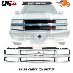 Front Grille Chrome Shell With Primed Insert For 1994 2000 Chevrolet C k Series
