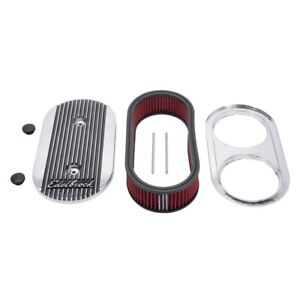 Edelbrock Air Cleaner Elite Ii Oval Dual quad Carbs 2 5in Red Element Polished
