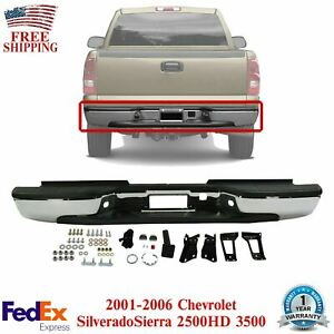 Rear Bumper Chrome Steel For 2001 2006 Chevrolet Silverado Sierra 2500hd 3500
