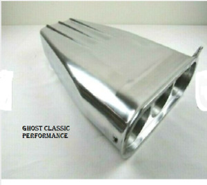 Finned Aluminum Street Rod Hood Scoop Single Or Dual Carb Polished Bpe 1012