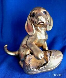 Rutledge Anthony Freeman McFarlin Gold Ceramic Puppy Dogamp;Shoe Mid Century Modern