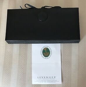 New Levenger Black Leather Expandable Cancelled Check Organizer Receipt File