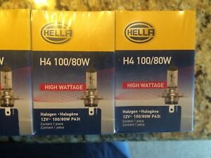 Hella H4 100 80w High Wattage Bulb Pair Of Two Free Shipping