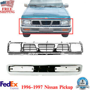 Front Bumper Chrome Grille Shell And Insert For 1996 1997 Nissan Pickup