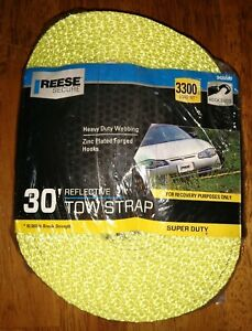 Reese Secure Heavy Duty Webbing Carry Power Tow Strap With Hook 30 Feet 3300 Lb