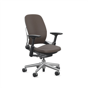 Steelcase Leap Desk Chair Espresso Leather Aluminum V2 Soft Hard Floor Casters
