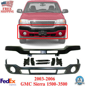 Front Bumper Primed Steel With Brackets Cover For 03 06 Gmc Sierra 1500 3500
