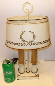 Vtg Tole Metal Lamp French Bouillotte Napoleon Laurel Victory Wreathe Bow Knot