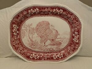 Antique England Copeland Spode Transferware Red White Large Turkey Platter