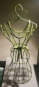 Table Top Green Wire Metal Dress Form Mannequin Decoration Jewelry Display 17in