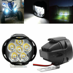 2x Universal Motorcycle Led Headlight Driving Fog Spot Light Lamp With Switch Us