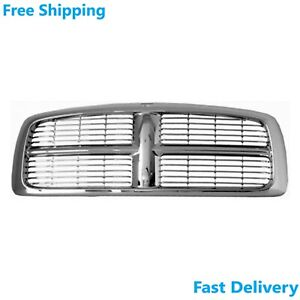 New Front Grille Chrome Plastic Fits Dodge Ram 1500 2500 3500 2002 05 Ch1200261