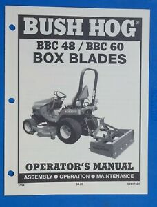 Bush Hog Equipment Operators Manual Box Blades Bbc 48 Bbc 60 Dealer Manual
