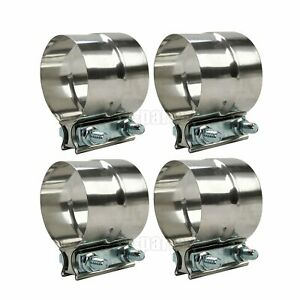 4pcs 2 Stainless Steel 304 Exhaust Pipe Band Clamps Lap Joint