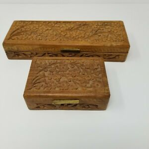 Lot Of 2 Vtg Rare Box Concepts Inc Hand Carved Wooden Jewelry Trinket Boxes