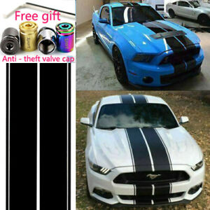 144 For Ford Mustang Black Rally Racing Stripes Hood Roof Trunk Decal Sticker