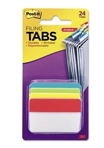 Post it Angled Tabs 2 X 1 1 2 Solid Aqua lime red yellow 24 pack 686aalyr