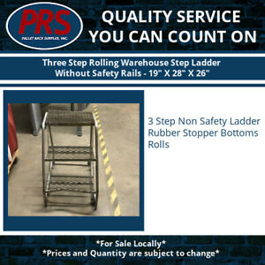 Three Step Rolling Warehouse Step Ladder Without Safety Rails 19 X 28 X 26