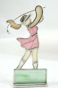 Stained Glass Lady Golfer Business Card Holder Desk Display