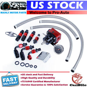 Universal Adjustable Fuel Pressure Regulator Kit 100psi Guage An6 Fitting Hose