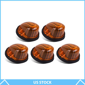 5 Roof Cab Light Clearance Marker Amber Cover W Base For 73 87 Chevy C K Series