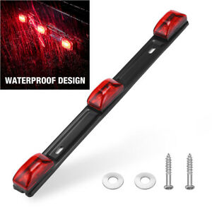 Red Clearance Id Bar Marker Light 3 Light 9 Led Trailer Sealed Lamp Waterproof