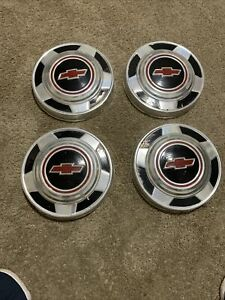 Vintage Chevrolet Dog Dish Hubcaps Set Of 4