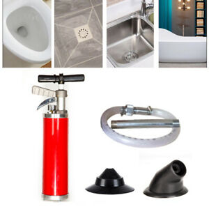 Toilet Dredge Cleaning Air Drain Blaster Pump Sink Pipe Clog Remover Tool Set