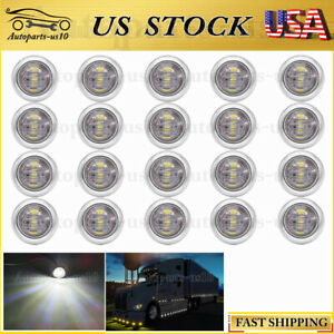 For Trailer Truck 20x White Led Clearence Front Rear Side Marker Indicator Light