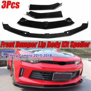 Front Bumper Lip Splitters Spoiler Trim Glossy Black For Chevrolet Camaro 15 18