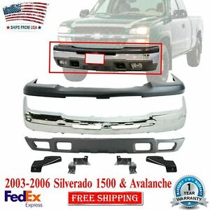 Front Bumper Cover Kit W Brackets For 03 2006 Chevy Silverado 1500 Avalanche