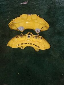 C7 Corvette Z06 Gs Oem Front 6piston Brembo Calipers Lft Rt Fits 2014 19 Yellow