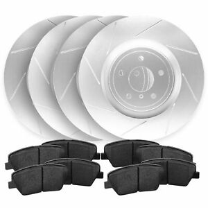 For 2013 2014 Ford Mustang Front rear Slotted Brake Rotors Ceramic Pads