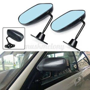 Universal F1 Style Carbon Look Car Racing Door Side Rear View Mirrors Blue