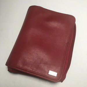Franklin Covey Pocket Size Unstructured Red Nappa Leather Planner Zip Organizer