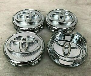Set Of 4 Wheel Center Caps 57mm Silver Chrome Fits Toyota Corolla Yaris Prius