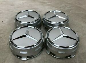 75mm Set Of 4 Fits Mercedes Benz Wheel Raised Center Caps Silver Hubcaps
