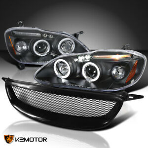 For 2003 2008 Toyota Corolla Black Led Halo Projector Headlights Mesh Grille