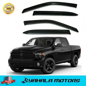 Side Vents Window Rain Guards For 09 18 Ram 1500 2500 3500 Crew Cab 3m Tape On