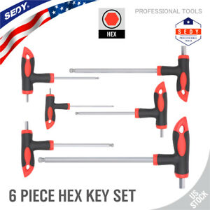 6pc Hex Key Set Ball End T Handle Allen Wrench 2 Drive With Case S2 Steel Metric