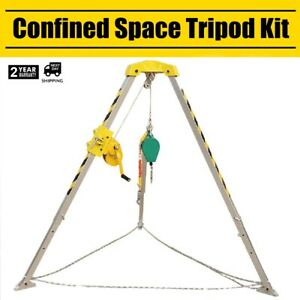 Confined Space Tripod Kit Winch Fall Protector Hooks 180kg 390lb